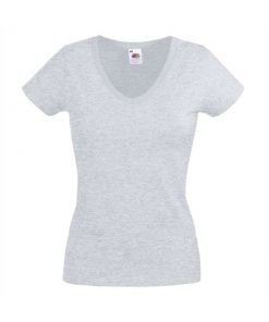 182 Heather Grey Дамска тениска Lady fit V-NECK